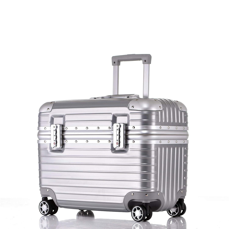 SGG スーツケース ファッション アルミフレーム メンズ レディース ノートパソコン収納 機内持込 ミニ 小型 キャリーケース ユニバーサルホイール ビジネス 撮影機材収納 B07RPHMNM7 シルバー 19SS