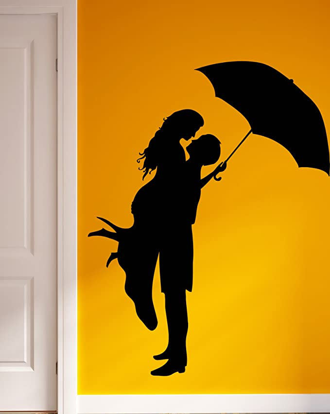 Amazon.com: Wall Vinyl Stickers loving Romantic Couple With Umbrella ...