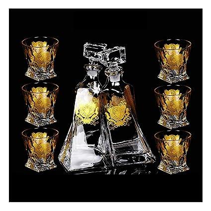 ZCXBHD Sin Plomo Cristal Vaso Licorera Whisky Vaso Bodega (Botella Doble Y 6 Vasos)