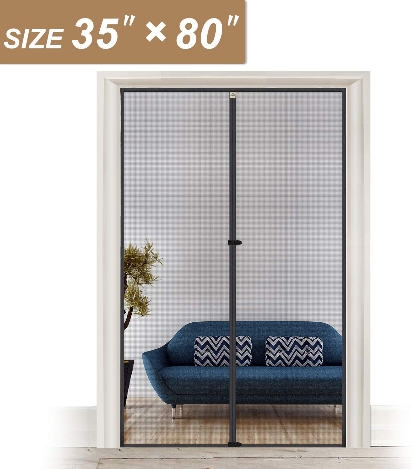 Magnetic Screen Door 33 x 83 Strengthened Fiberglass Mosquito Net Curtain Fit Doors Size Up to 33W x 83H Max