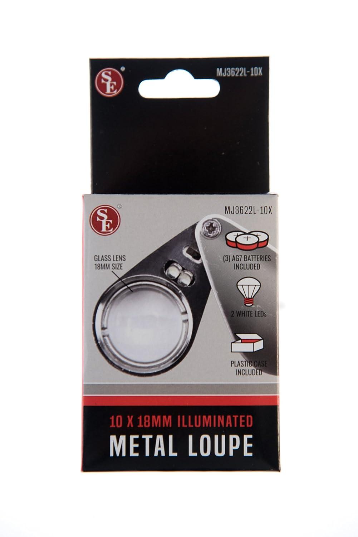 SE MJ3622L-10X Professional 10x 18 mm Illuminated Metal Loupe Sona Enterprises