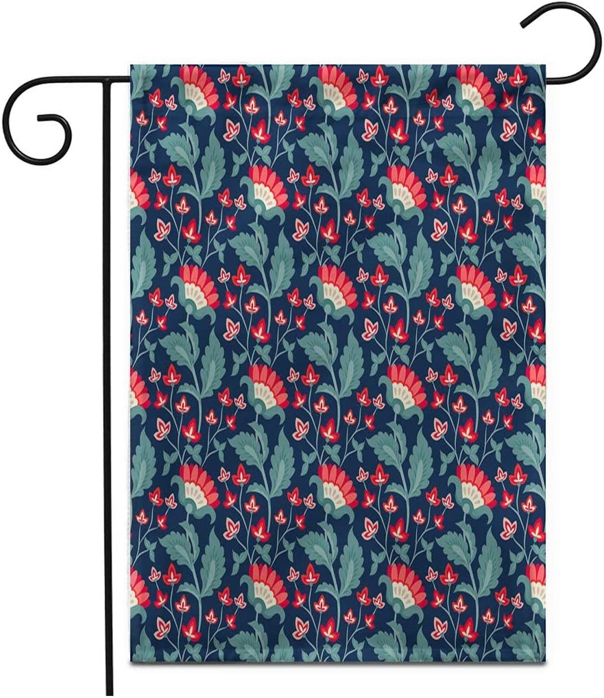 "Adowyee 12""x 18"" Garden Flag Floral Jacobean Flowers Colorful Herbal Collection Red Dark Blue Outdoor Double Sided Decorative House Yard Flags"