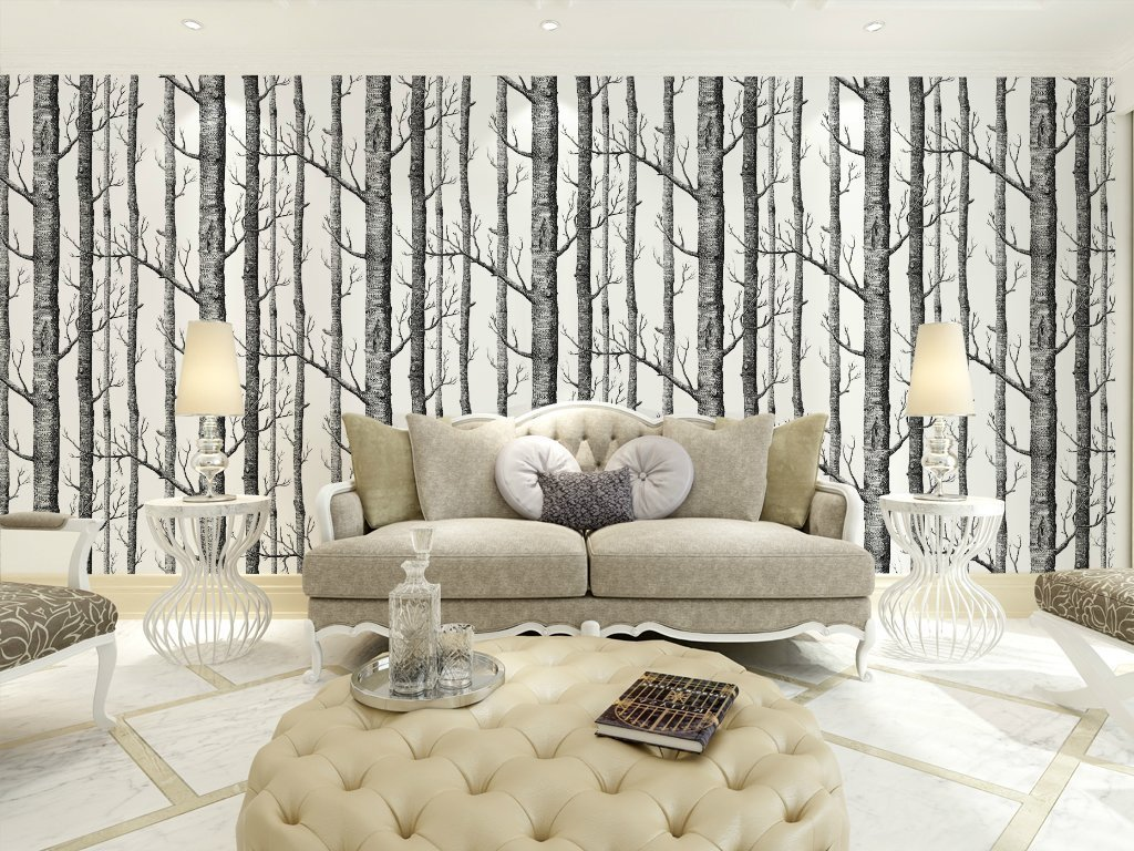 Tree Design Wallpaper Living Room Modern Minimalist Birch Tree Pattern Waterproof Wallpaper Wall