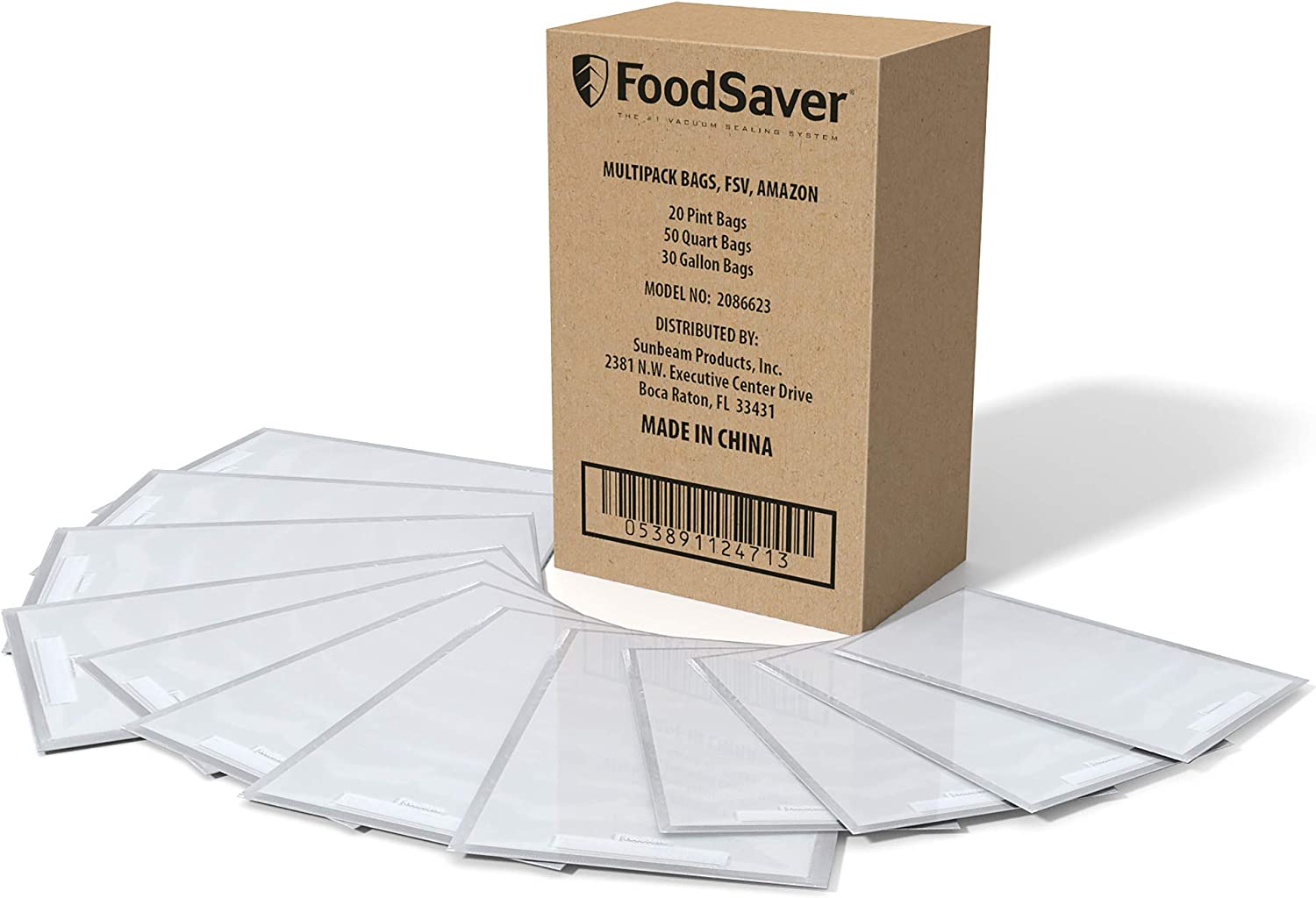 FoodSaver Vacuum Sealer, Bags Multipack, 100 Count | 20 1-Pint, 50 1-Quart, 30 1-Gallon Bags