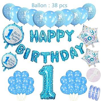 Set de decoración de cumpleaños azul para niños: globos de ...