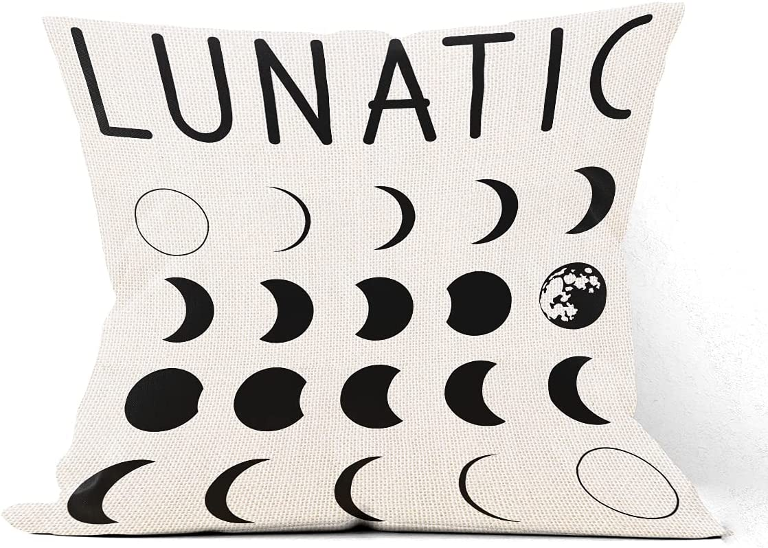NNYTTK Vintage Lunatic Moon Phases Pillow Covers Decor Gift Namasté Art Sign Spiritual Meditation Pillow Case Cushion Cover for Sofa Couch Witchy Decor Home Decorations 18