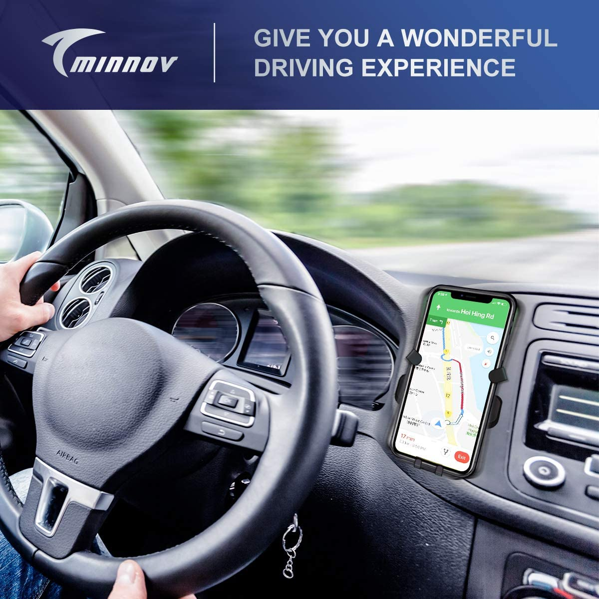 Gravity Cell Phone Mount Air Vent TMINNOV Car Phone Holder Auto Clamping Auto-Lock and Auto-Release Compatible with iPhone 6 7 8 X 11 and More Universal Mobile Phone