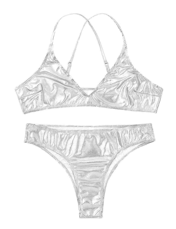inlzdz Womens Shiny Metallic Bikini Set X Back Bra Top with Bikini Bottoms Swimsuits Swimwear