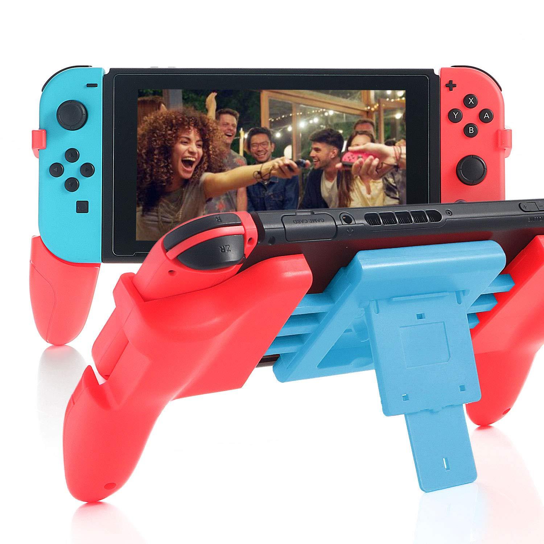 Grip for Nintendo Switch, Comfort Wider Controller Grip for Nintendo Switch with 2 Game Slots - RedBlue by HEATFUN