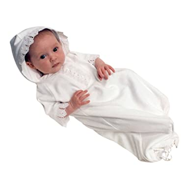 a9345baa4 Amazon.com  Victorian Organics Baby Gown White Organic Cotton and ...