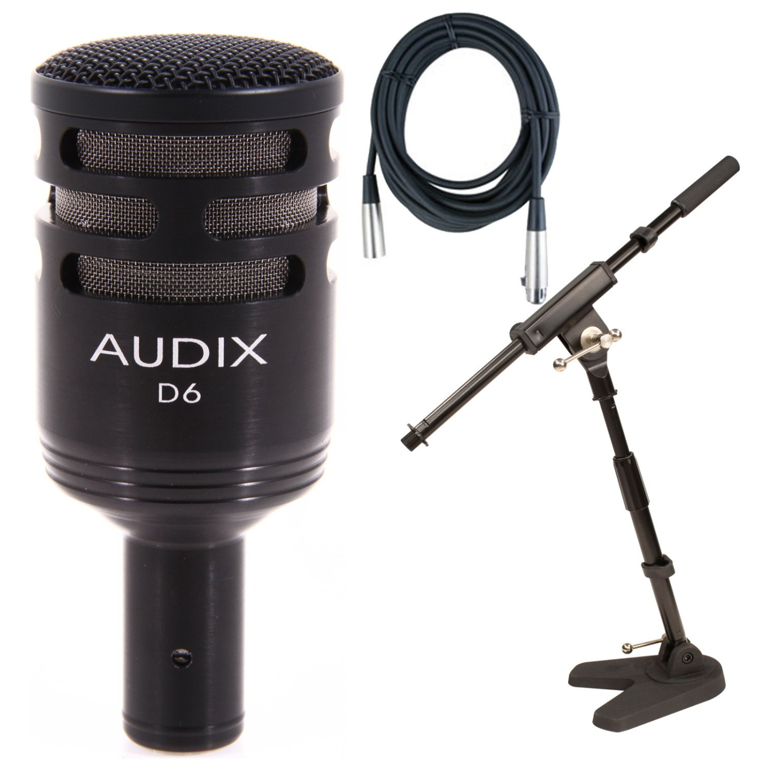 Audix D6 Bass Drum Microphone w/Onstage 79020 Bass Drum Mic Stand and 20' Mic Cable