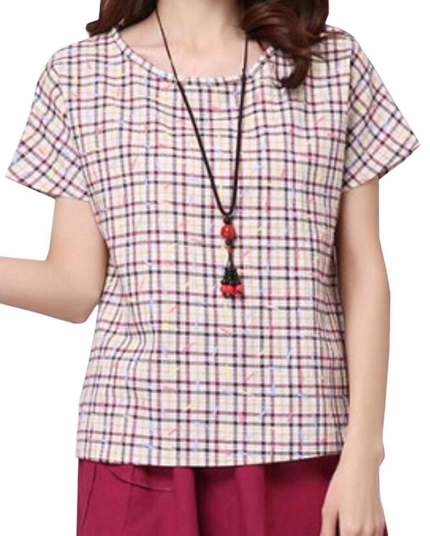 Vska Women's Plaid Short-Sleeved Round Neck Loose T-Shirts