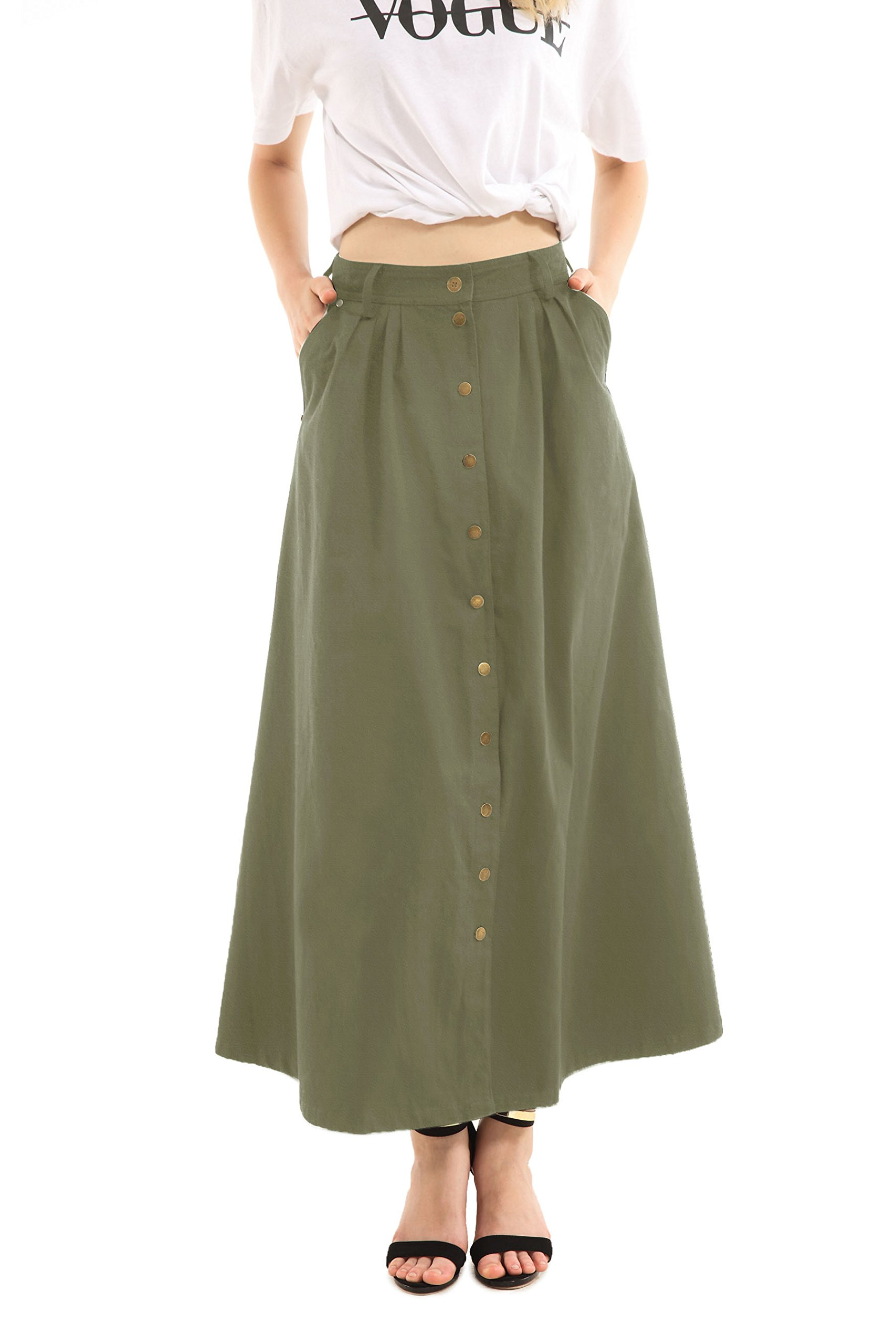 JOAUR Women's Slit Casual Skirts Button Front High Waist Maxi Skirt with Pockets