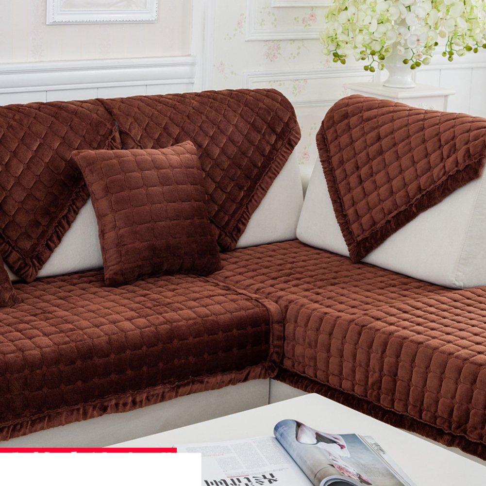 DW&HX Winter padded plush sofa cushions Fashion slip sleeve cover European flannel solid wood cushion-F 90x90cm(35x35inch)