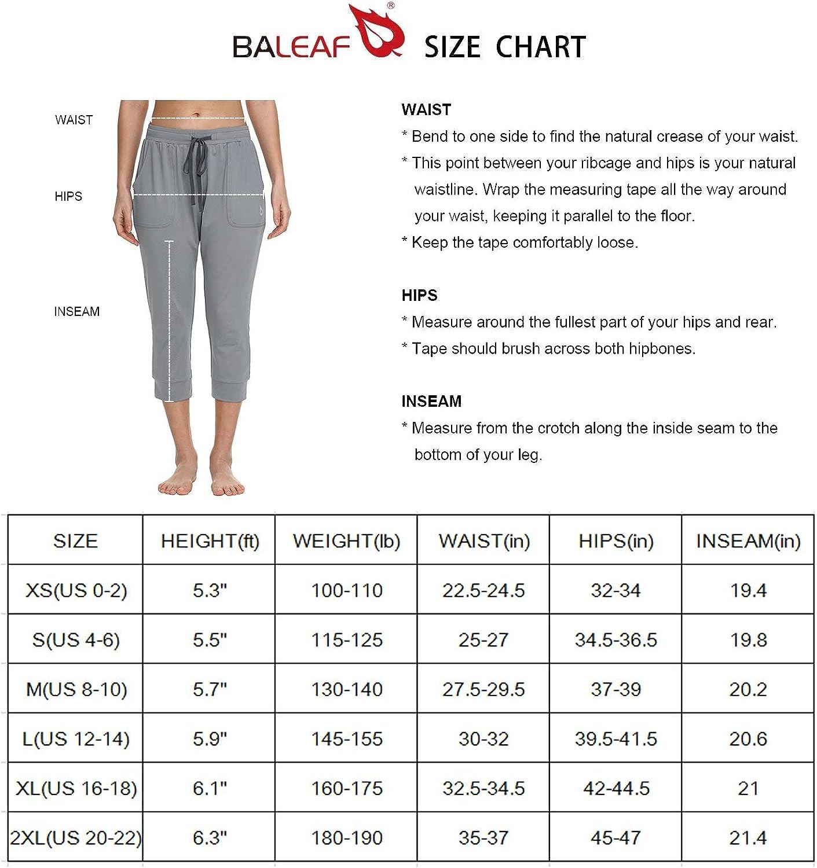 BALEAF Womens Drawstring Capri Lounge Pants Pockets Yoga Joggers Running Lightweight Activewear Sweatpants