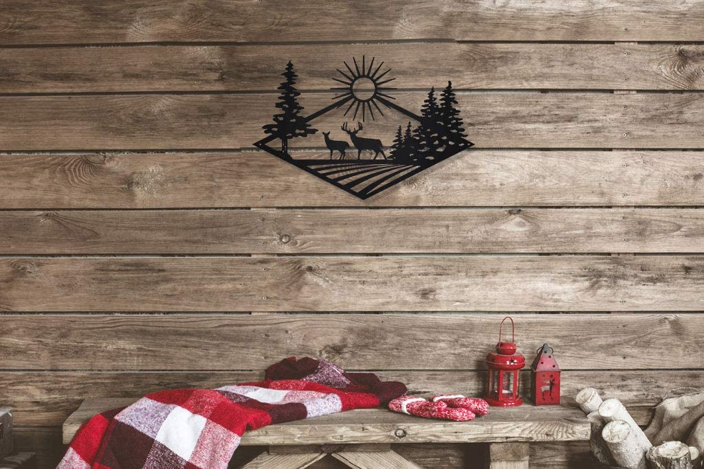 Morning Rise Deer Hunting Steel Metal Wall Art Sign for Home Cabin Decor Laser Cut (Black)