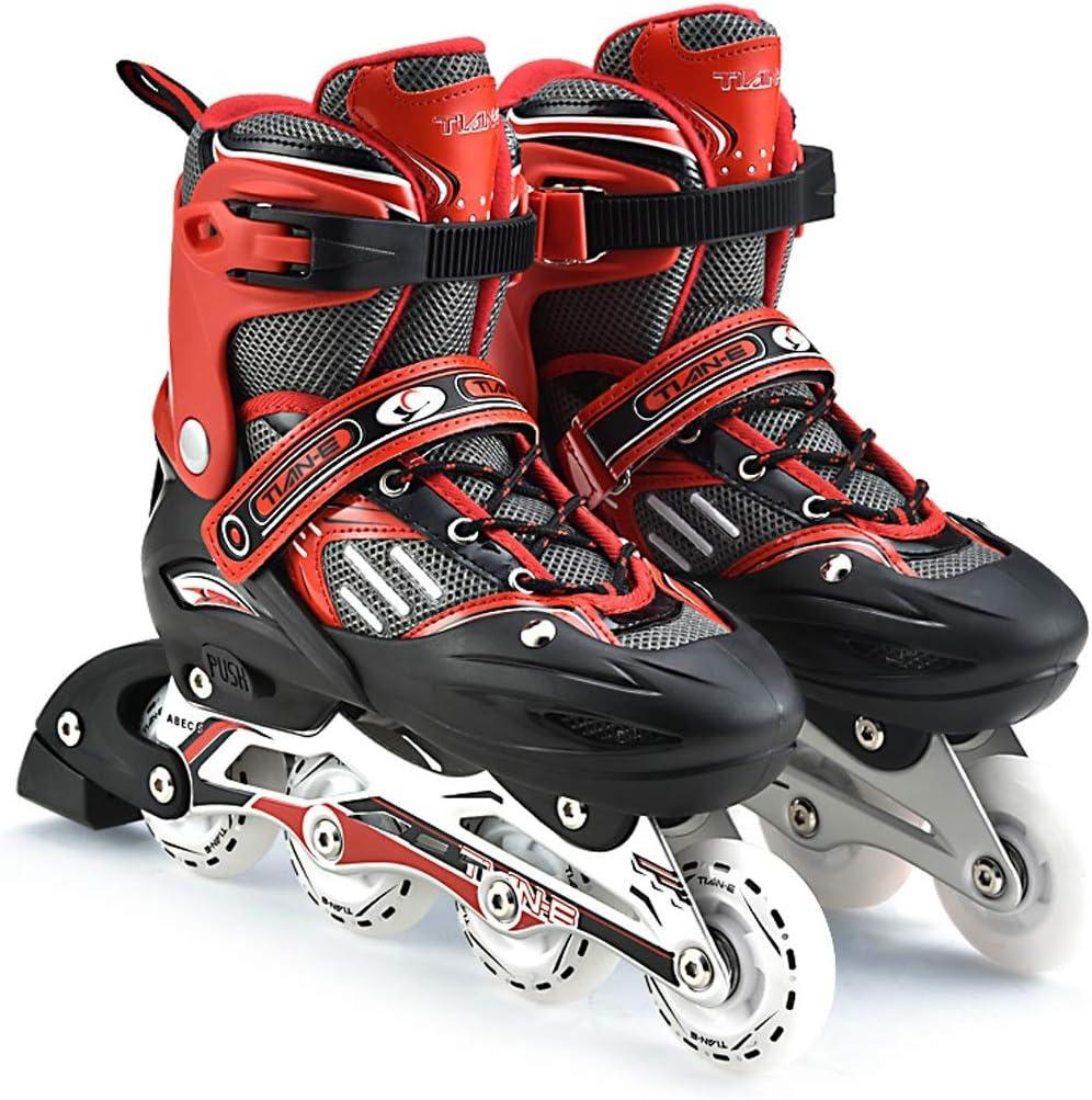 ローラーブレード、ローラースケート、インラインスケート、子供/大人、クラシックホワイト、ハイプロファイル、初心者用スケート、簡単に着用、楽しいスケート、屋内/屋外用ローラースケート、誕生日、フェスティバル、すべての若い人たちにぴったりのギフトパッケージに含まれるもの:ローラーブレード、ヘルメット、靴収納バッグ、保護具セット (Color : 赤, Size : 10)