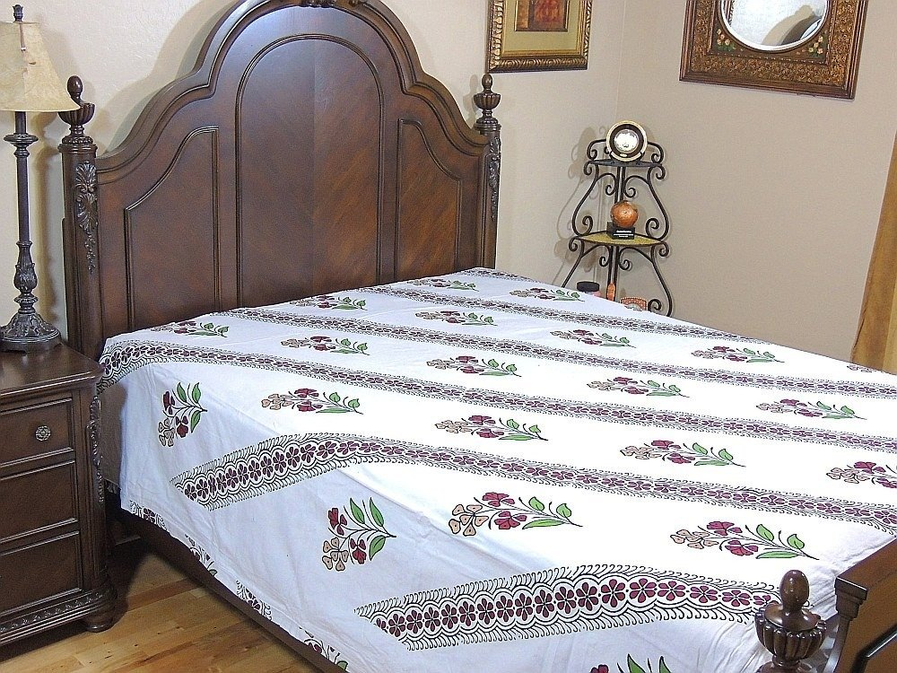 White Indian Style Reversible Cotton Printed Floral Duvet Cover Comforter - Queen Size 96 Inch X 86 Inch