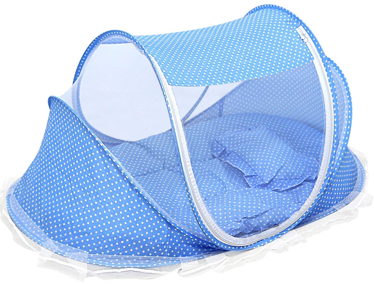 GPCT Foldable Baby Mosquito Travel Net Tent. Includes Mosquito Tent, Pillow, Mattress, Music Box, Mesh Bag. Keeps Insects Out. Portable Sun Shelters Infant Toddlers Children Beach Travel Crib- Blue