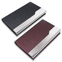 Tarjeteros para Tarjetas de Visita, SENHAI 2 Pack Estuches para Tarjetas de Visit, Soportes de protección de almacenamiento Funda de bolsillo para Tarjetas de Identificación Tarjetas de Crédito