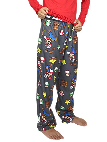 Amazon Com Nintendo Super Mario Boy S Flannel Pajama Pants Medium