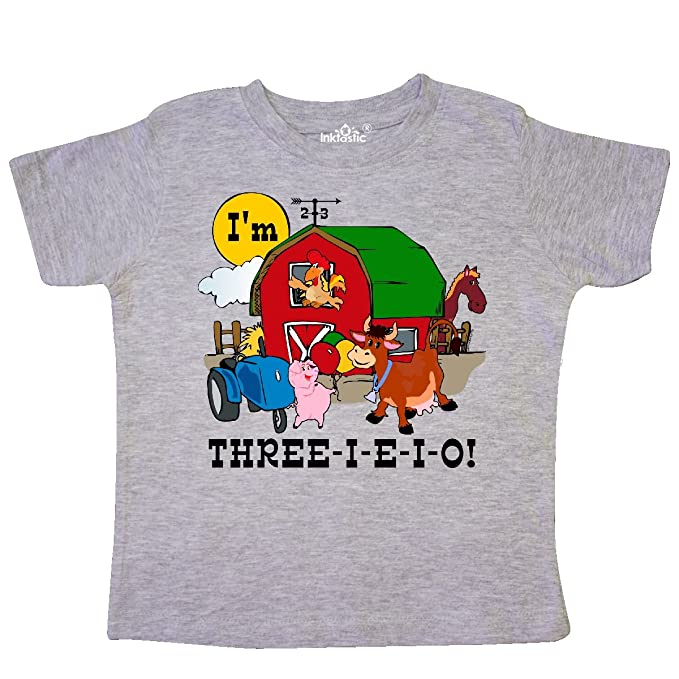 Amazon.com: inktastic Little Boys three-i-e-i-o bebé T ...