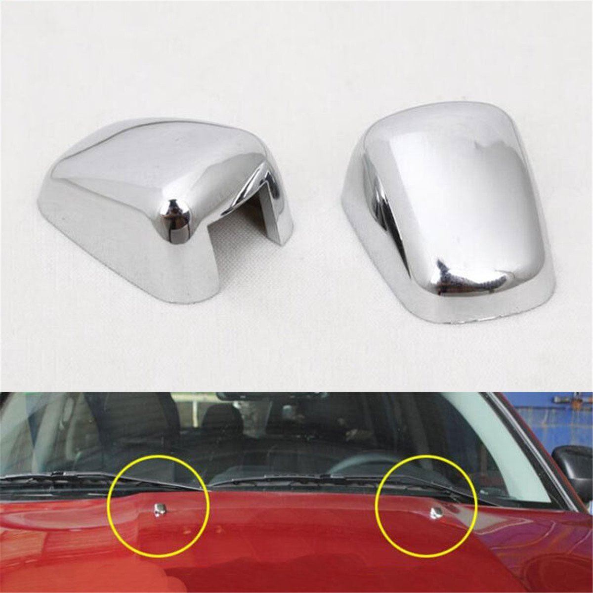FMtoppeak Silver 2pcs Front Windshield Washer Wiper Spray Nozzle Trim Cover for 2007-2016 Jeep Compass/Patriot/Grand Cherokee/Cherokee