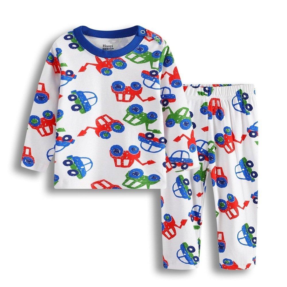 Hooyi Baby Boys Long Sleeve Sleepwear Cotton Car Pajamas Set