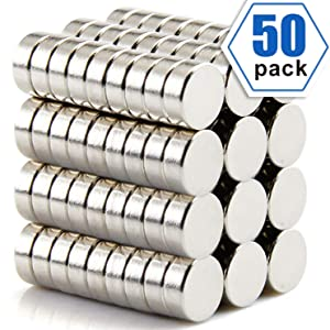 Multi-Use Refrigerator Magnets,Round Ceramic Ferrite Magnets With Stainless Steel Coating for hobbies, Crafts, Science,Refrigerator, washing machine, air conditioner, door, Office,Pack of 50