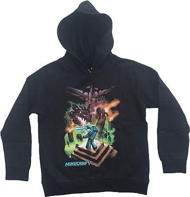 Sudadera con capucha para jóvenes de Enderdragon, de la marca Minecraft, producto con licencia oficial, de color negro Negro Negro (9-10 Años: Amazon.es: ...