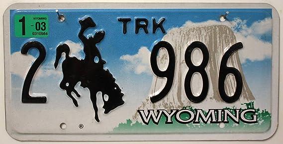 Usa Auswahl Von Fahrzeugschildern Wyoming Nummernschild Geprägtes Kfz Kennzeichen U S A Schild Mit Motiv Cowboy Rodeo Devils Tower U S License Plate Auto