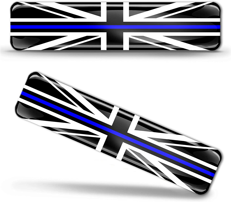 Biomar Labs 2 X Aufkleber 3d Gel Silikon Stickers Grossbritannien England Uk Gb Union Jack Thin Blue Line Police Flag Dünne Blaue Linie Polizei Flagge Fahne Autoaufkleber F 64 Auto
