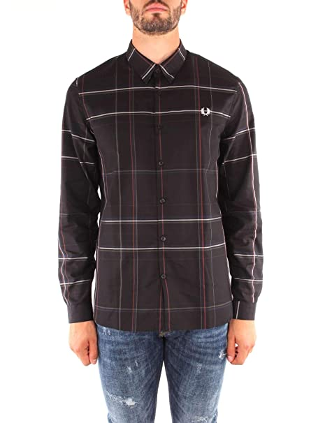 db4824a7 Fred Perry Long Sleeve Enlarged Check Shirt in Navy: Amazon.co.uk: Clothing