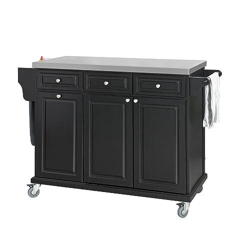 SoBuy® Carrello da cucina, Cassettiera, Mobiletto ad angolo,nero ...
