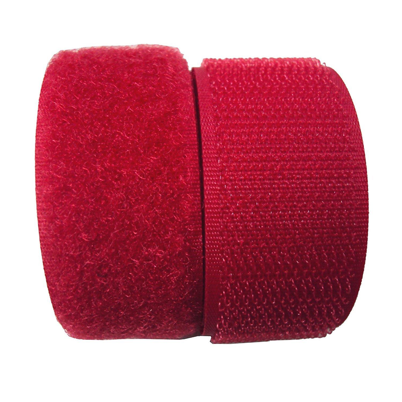 Lovetex明るい赤Sew Onフックとループファスナーテープ5ペアヤード 1