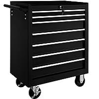 TecTake Chariot d'atelier servante à outils | 7 tiroirs spacieux verrouillables | -diverses modèles- (Noir | No. 402800)