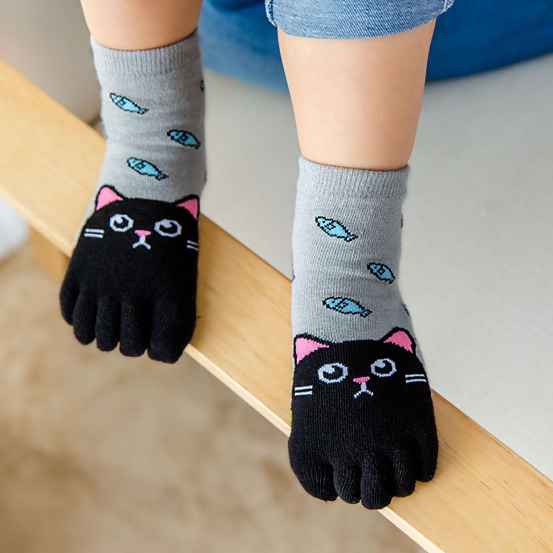 4 coppie LOFIR Calzini Cotone Bambina Calze 5 Dita per Ragazze e Ragazzi Animale Cartone Animato Calze Novit/à Crew Caviglia Calze per Bambini 3-12 anni