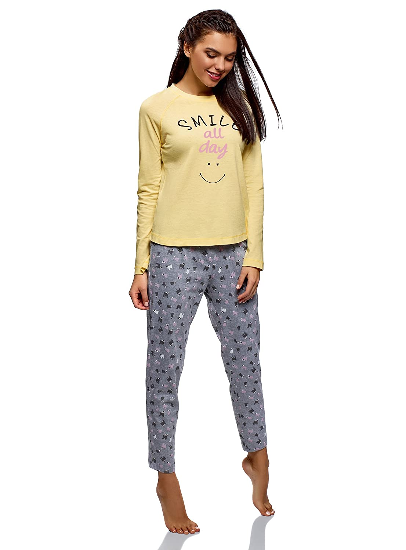 oodji Ultra Mujer Pantalones Cortos de Estar por Casa con Inscripci/ón