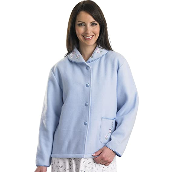 cc5fc15c4c4 Slenderella Ladies Soft Polar Fleece Button Up Bed Jacket Floral  Embroidered Detail House Coat (Various Colours)  Amazon.co.uk  Clothing