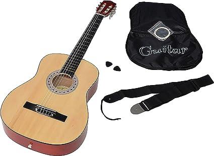 ts-ideen 5268 - Guitarra acústica clásica (incluye funda, correa, cuerdas de repuesto y púa), color madera natural: Amazon.es: Instrumentos musicales