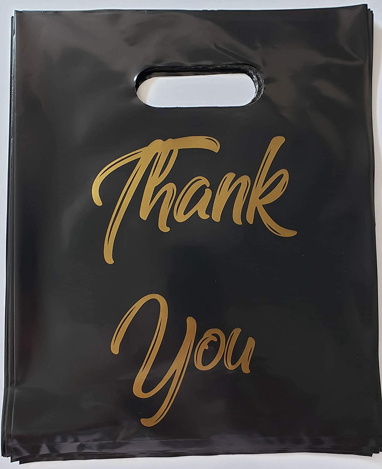 Thank You Bags Party Favors, 24 Black with Gold Plastic Loot for Retail Business Wedding Guests Customers Shopping Store with Handle