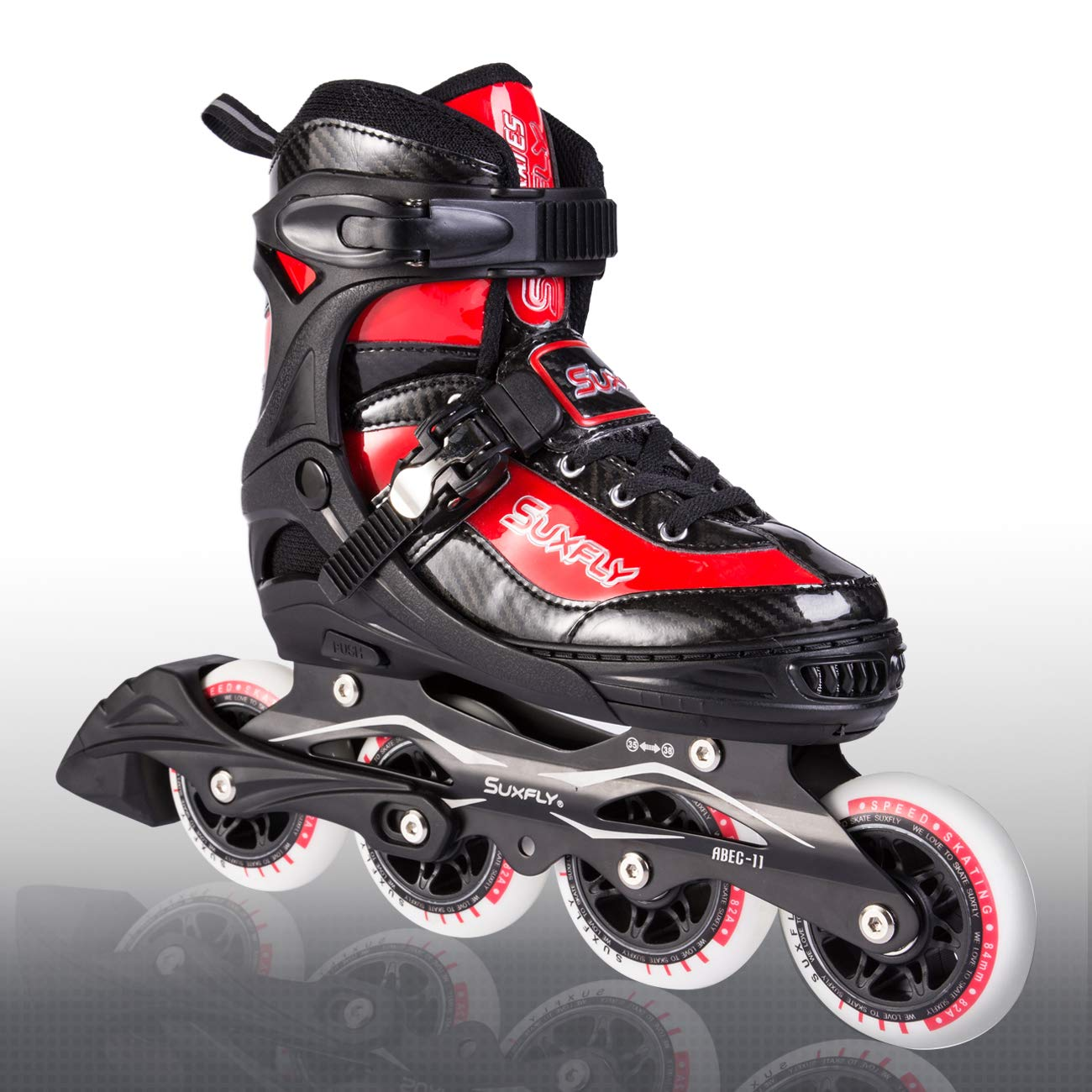 Kuxuan Herio Men Adjustable Rollerblades,Fun Performance Inline Skates 84mm/90mm Wheels for Boys,Girls and Ladies - Red L