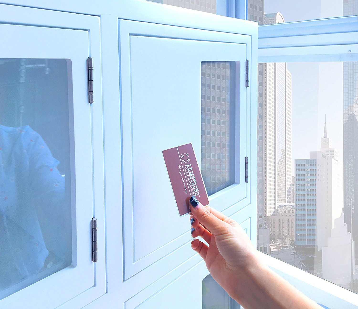 Hidden behind the cabinet door concealed RFID cabinet lock by Armstrong