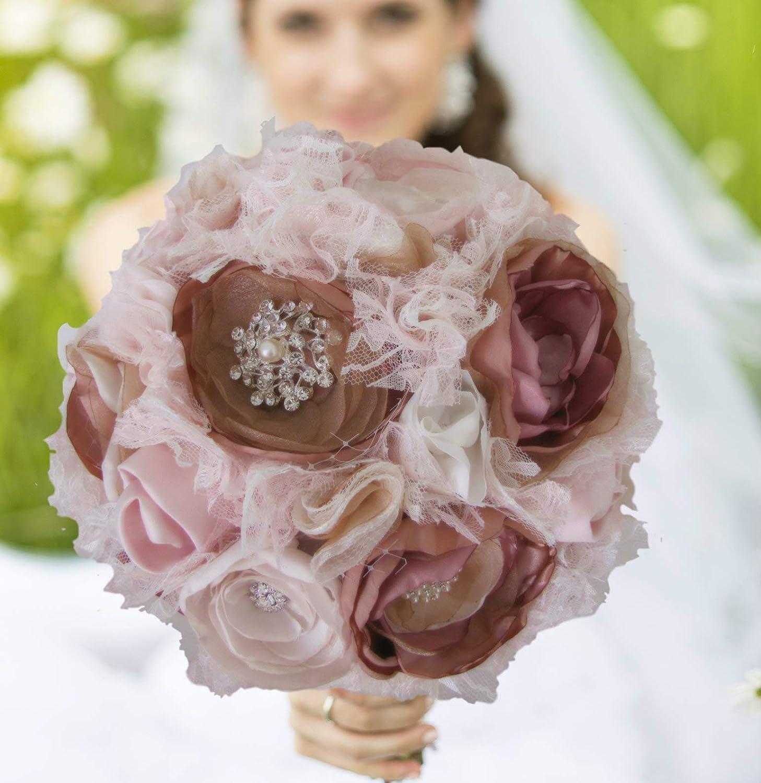 Handmade vintage shabby chic Lace fabric flowers wedding crafts