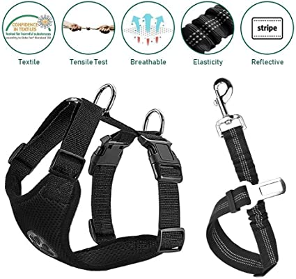 Pet Car Harness Vehicle Seat Belt with Adjustable Strap and Buckle Clip Easy Control for Driving Traveling Safety for Small Medium Dogs Cats Lake Blue Medium Pawaboo Dog Safety Vest Harness