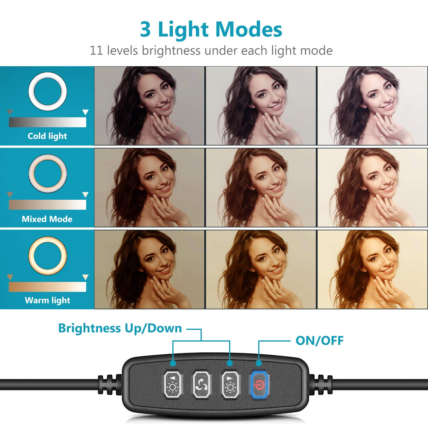 Neewer LED Ring Light 6-inch for YouTube Video Live Streaming Makeup Selfie Desktop Mini USB Camera LED Light with 3 Light Modes and 11 Brightness Level
