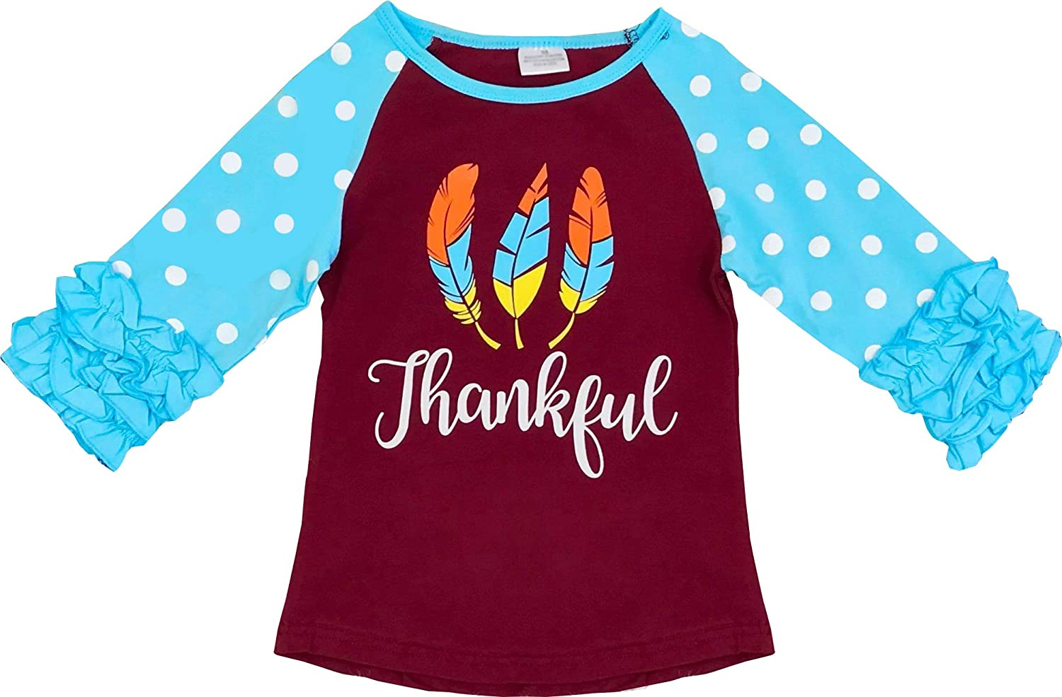 Angeline Boutique Clothing Girls Halloween Thanksgiving Christmas Ruffles Sleeves Raglan T-Shirt