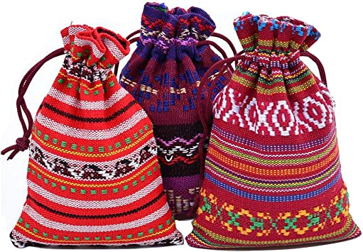 10 Bolsas de algodón con cordón para el Viento, Estilo étnico y ...