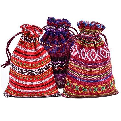 10 piezas de bolsa de cordón de viento étnico Bolsa de ...