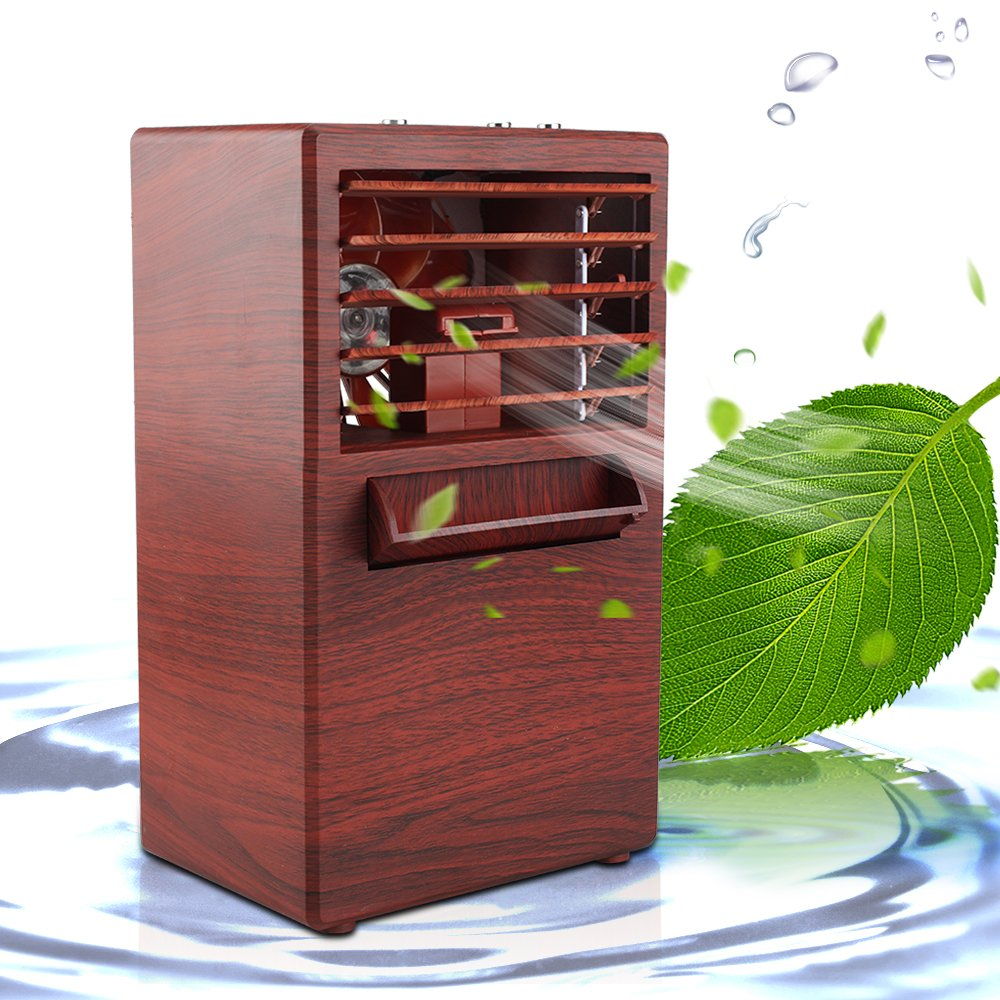 LOHOME Desktop Air Cooler Fan Personal Misting Fan Desktop Air Conditioning Fan Spray humidifier Humidify Cooler Fan for Summer (Brown)